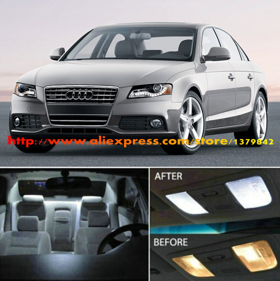 Free Shipping 14Pcs/Lot 12v car-styling Xenon White/Blue Package Kit LED Interior Lights For Audi A4/S4 (B8) Sedan 2009