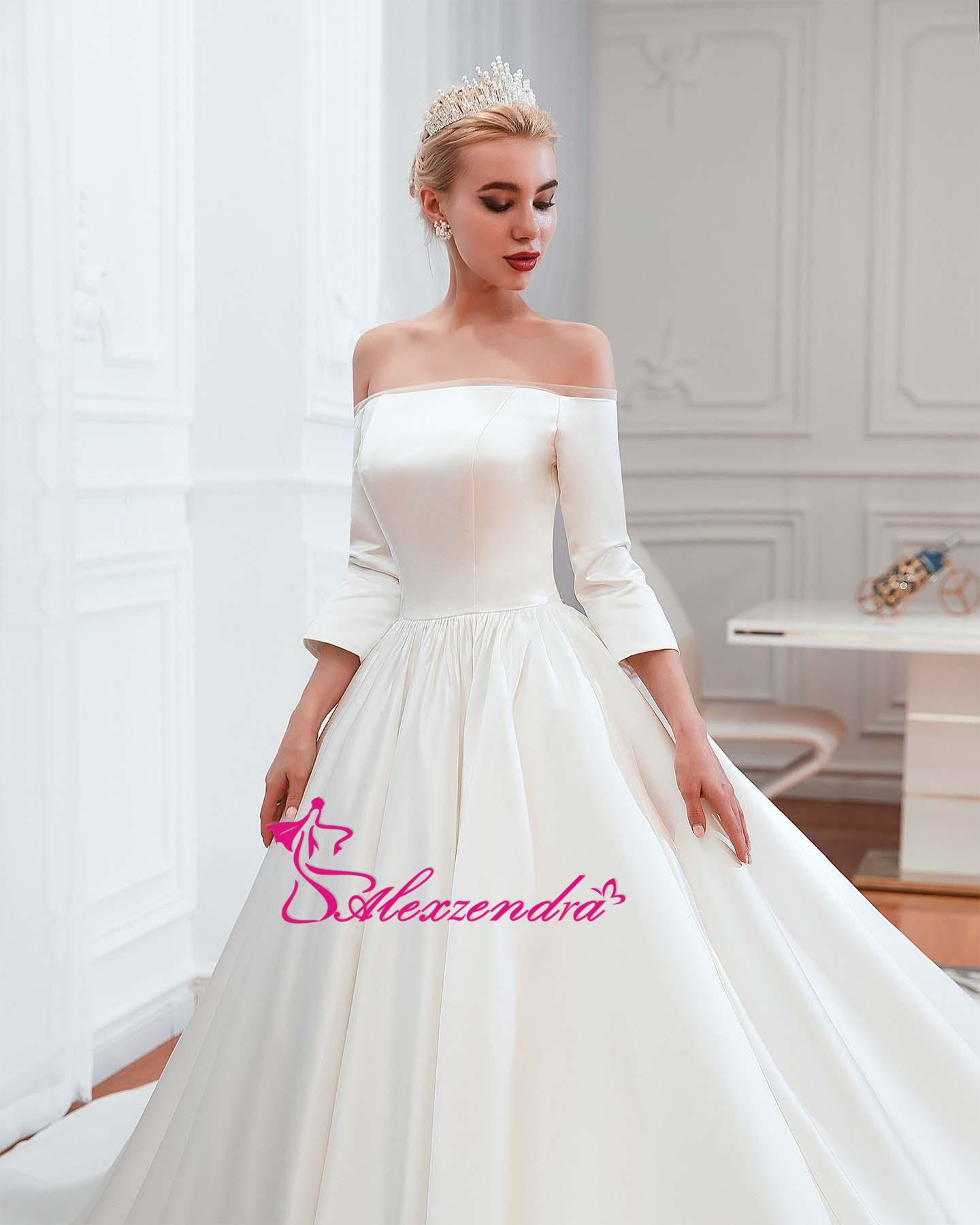 Alexzendra robe de bal en Tulle brillant robes de mariée élégantes pour la mariée perlée ceinture Vintage princesse mariée robes de grande taille - 4