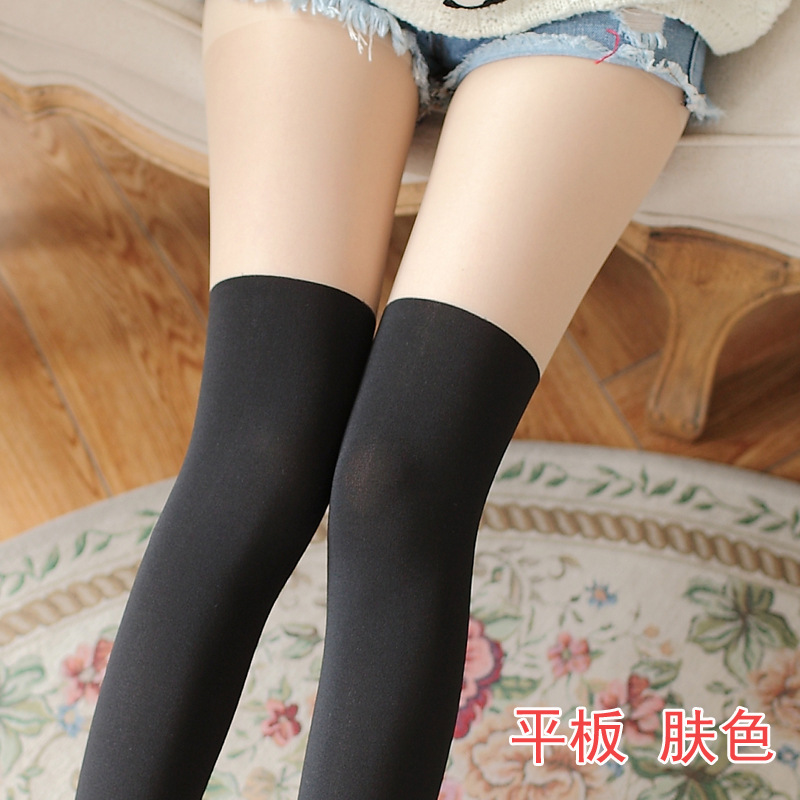 Women Over the Knee Tattoo Tights Black Mixed Colors Gipsy Mock Ribbed Sexy Tinted Sheer False High Stocking Pantyhose 11 colors