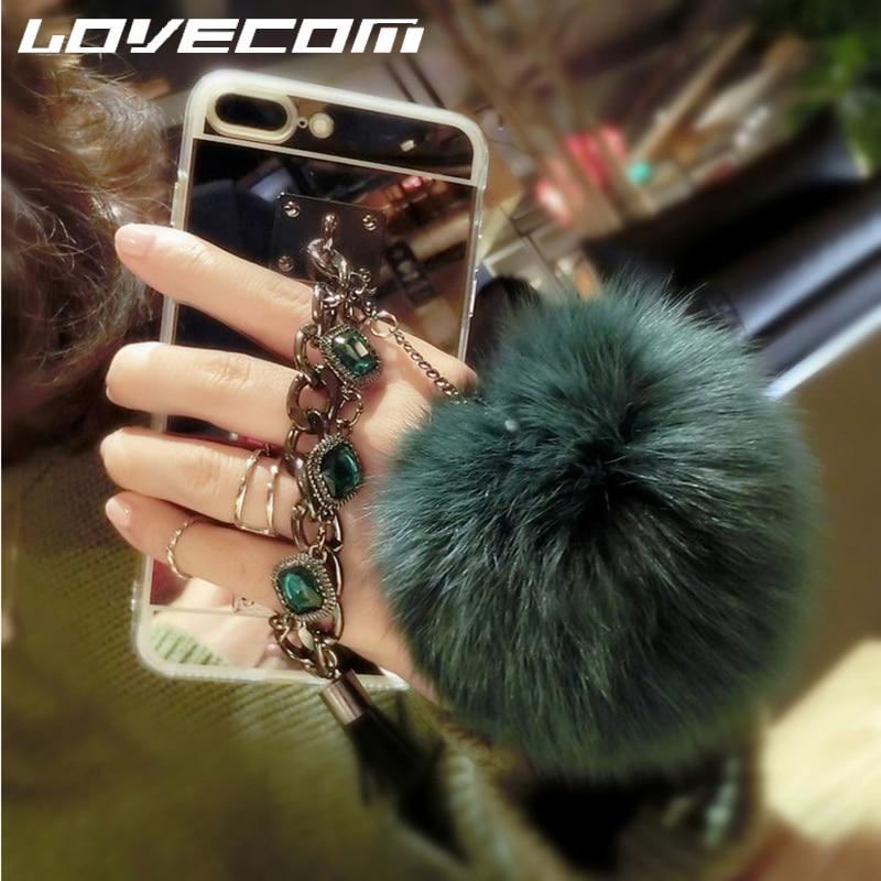 Genteel Lovecom For Samsung A3 A5 A7 J3 J5 J7 Eu Version J5 J7 Prime Fur Ball Diamond Chain Mirror Soft Tpu Phone Back Case 2016 2017