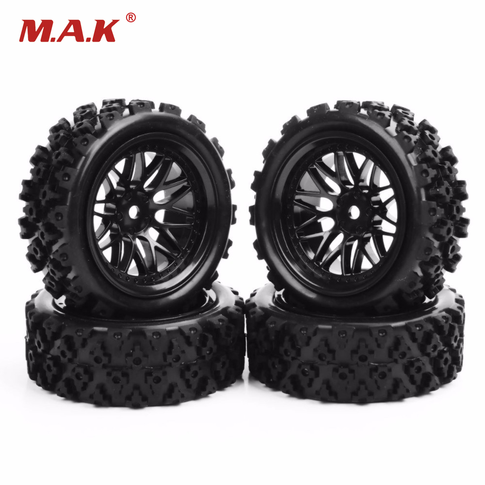 1/10 Scale RC Off Road Car Model Toys Accessory 4pcs/set Rubber Tires And Wheels Model 1 10 rubber on road racing car model replacement tire black 4 pcs