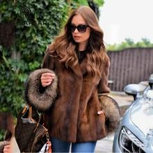 FURSARCAR 2018 Whole Skin Real Mink Fur Coat Women Natural Genuine Female With Turn-down Collar Raccoon Cuff