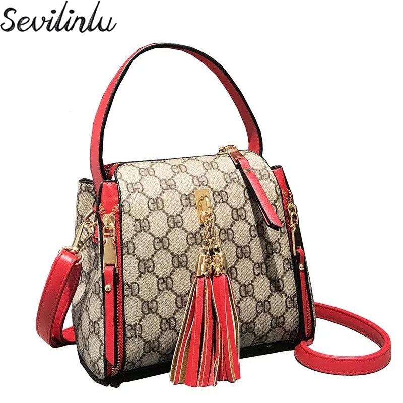 Sevilinlu Women Handbags Tassel Shoulder Bags High Quality PU Leather Bag Lady Tote Female Designer Boston Crossbody Bag цена 2017