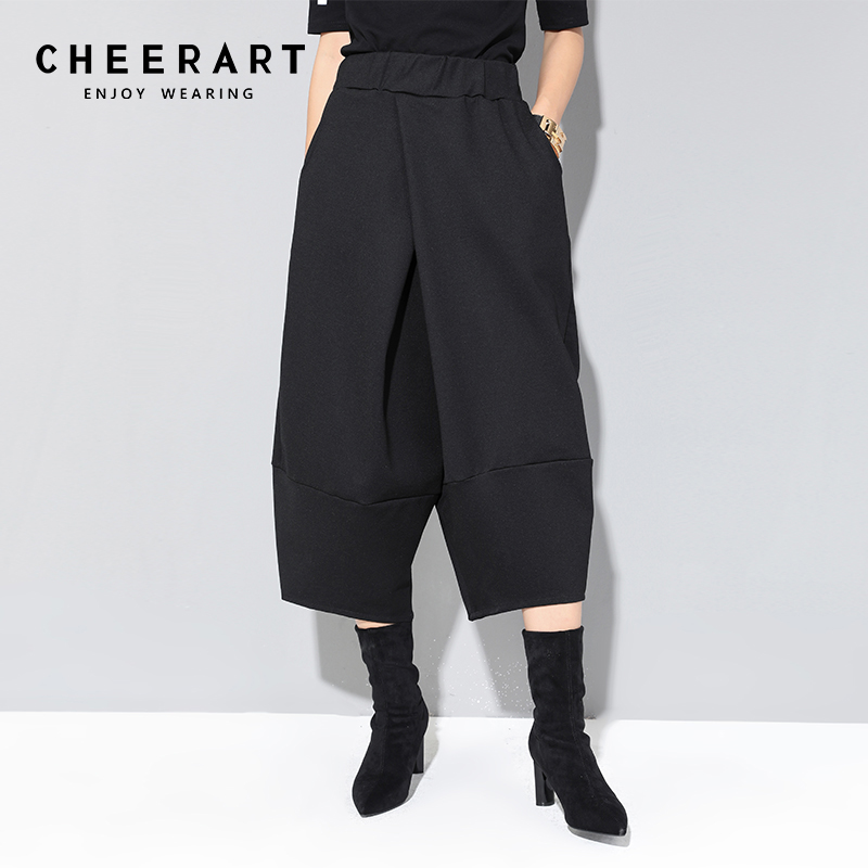 Cheerart Black   Wide     Leg     Pants   Women Mid-Calf Elastic Waist Casual   Pants   Trousers Women Thick Autumn Winter Loose   Pants