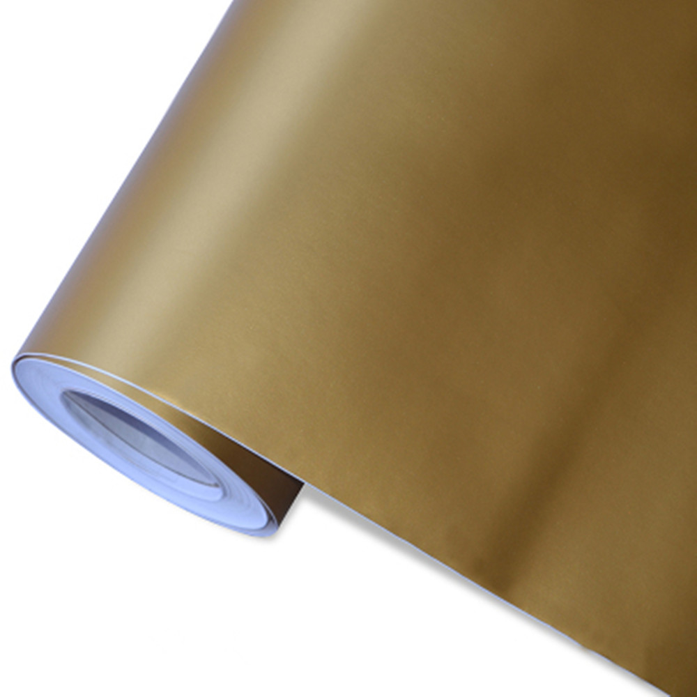 152cm x 500cm Polymeric PVC Matte Gold Vinyl Car Wraps Sticker Color Changing Motorcycle Sticker With Air Bubble Car Decoration car 3d pvc carbon fiber decoration sticker deep golden 30 x 127cm