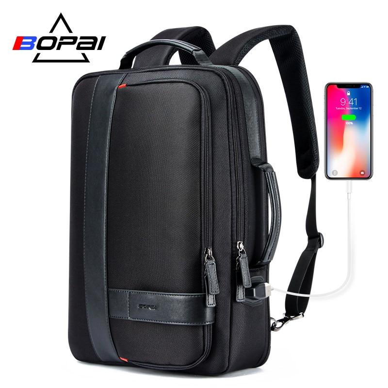 BOPAI Business hommes sac à dos noir USB charge Anti vol sac à dos pour ordinateur portable 15.6 pouces mâle grande capacité collège sacs d'école