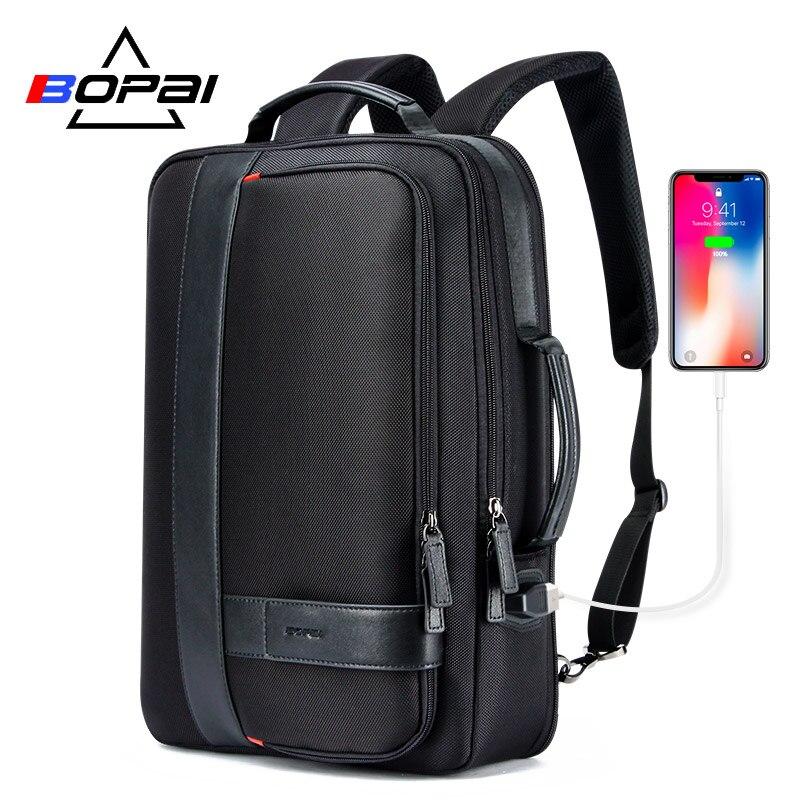 BOPAI Business hommes sac à dos noir USB charge Anti-vol sac à dos pour ordinateur portable 15.6 pouces mâle grande capacité collège sacs d'école