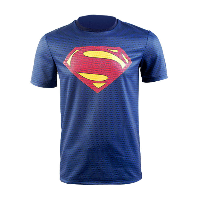 Superman Man of Steel Uniform Blue T Shirt Cosplay Costume Tee Top Outfit Suit