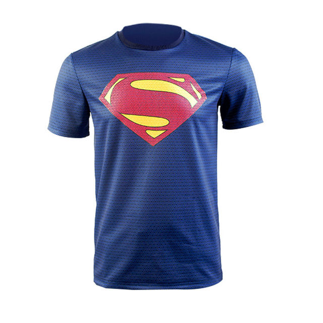 Superman hombre de acero uniforme azul camiseta Cosplay Costume tee Top  traje c0e9bd1bf85