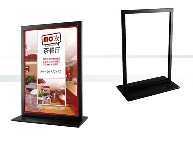 Black Metal A4 Double Sided Table Advertising Display