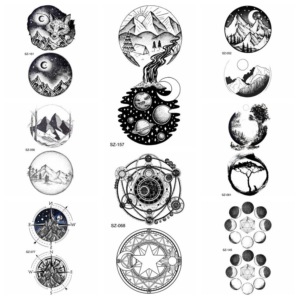 Fashion Small Round Universe Tattoo Stickers Women Body ...