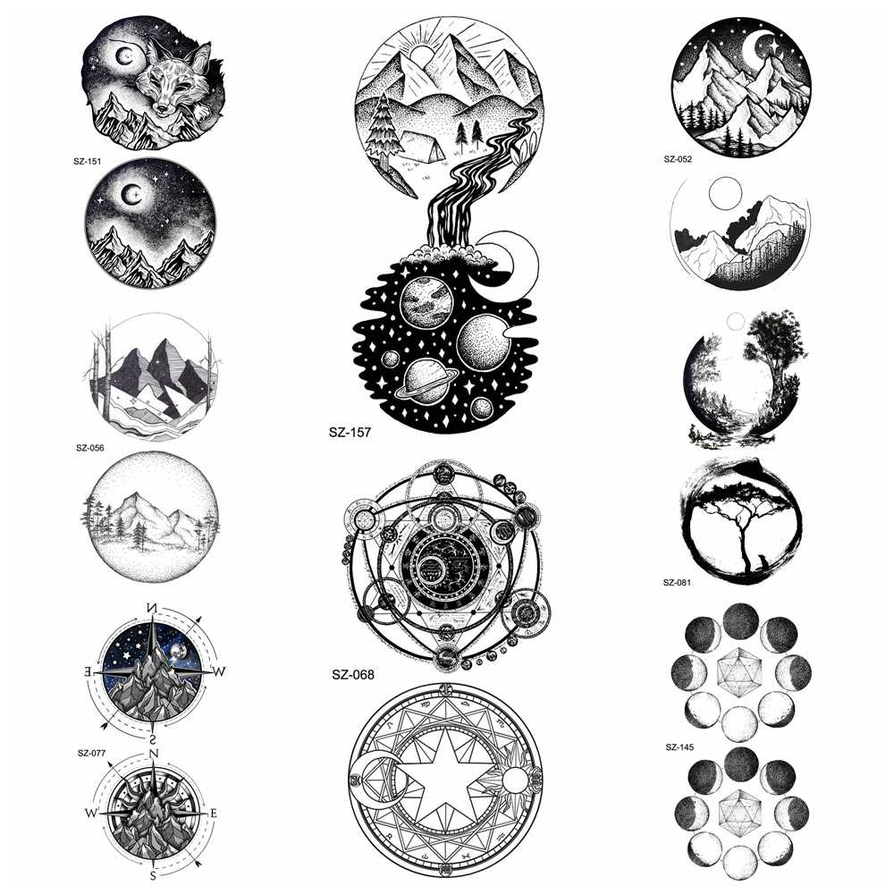 Fashion small round universe tattoo stickers women body art drawing temporary tattoo men arm moon hill