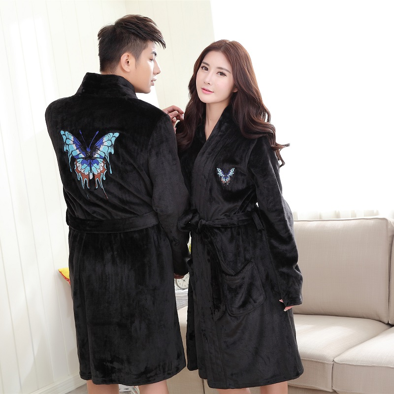 Automne couples flanelle Robe hommes Robe corail polaire femmes hiver robes de bain plus épais chaud maison vêtements papillon broderie