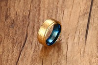 Free Engraving 8mm Two Tone Blue Gold Color Tungsten Carbide Hammered Rings Stepped Edges Promise Band