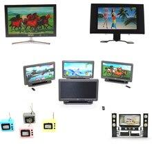 1PCS Doll House HI-FI TV Cabinet Audio LCD Flat Screen Detachable TV Dollhouse Miniature Decoration Random Style