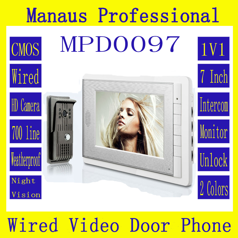 D97b Latest Wired Magnetic Lock One to One Video door phone,Smart Home 7 inch Screen Display Video Intercom Phone