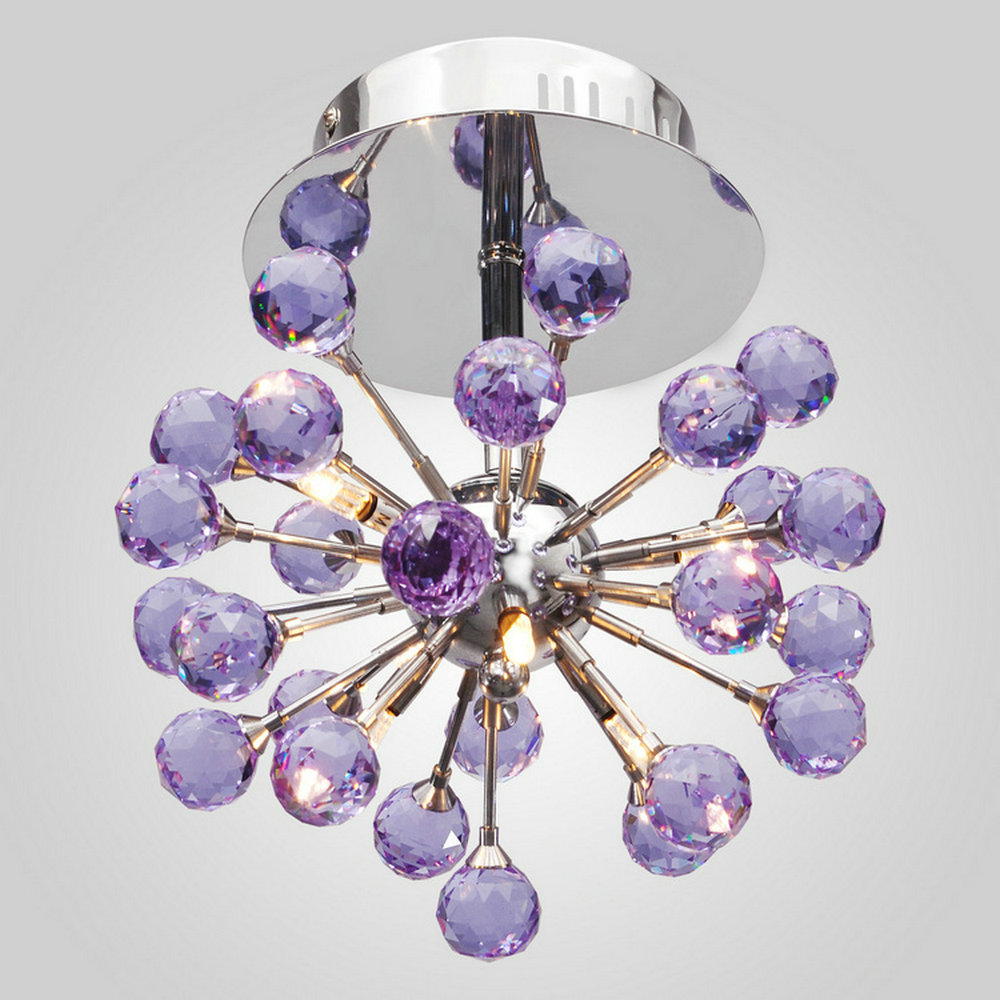 Free Shipping Indoor Purple Color Crystal Light Ceiling