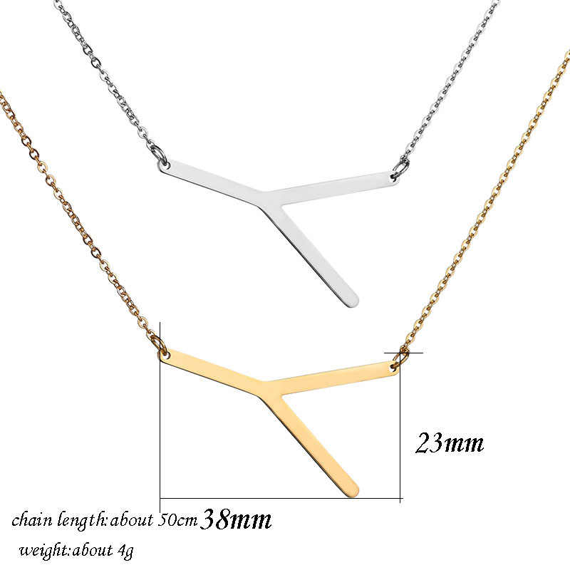 2495a72344a ... UZone Letter Y Necklaces Pendants Alphabet Gold Color Stainless Steel  Choker Initial Necklace Women Girl Jewelry ...