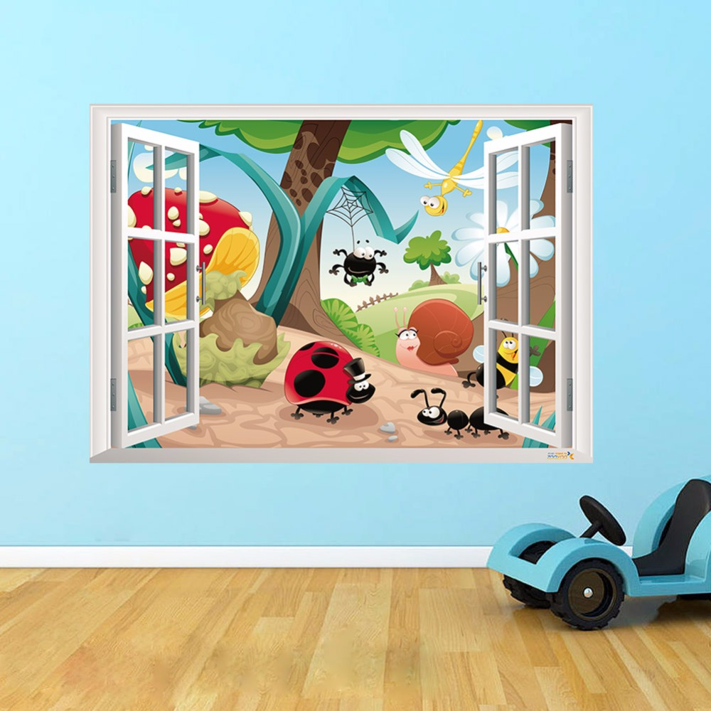 Creative Home Decor 3D Fake Window Wall Stickers Cute Cartoon Insects Pattern For Kids Baby Room 50x70 CM Mural Art  Wallpaper