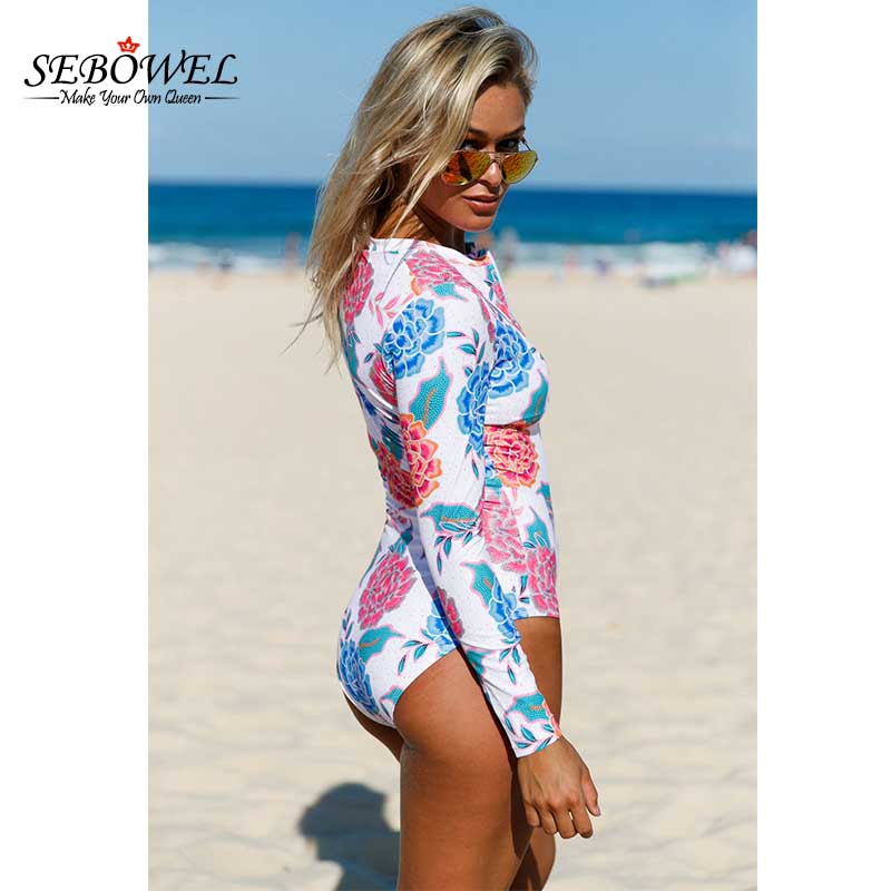 894f1eb23a SEBOWEL Sexy Floral Print One Piece Swimsuit Women Long Sleeve Zip Front  Monikini Bathing Suits Push up Bodysuits Swim Maillot-in Body Suits from  Sports ...