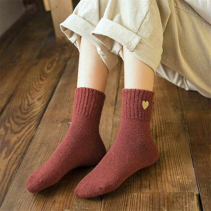 2019 New Women's Thicken Wool Socks Casual Ladies Cute Winter Wild Warm Socks For Girls 8 Colors Socks Eur 36-39(Us 6-8)