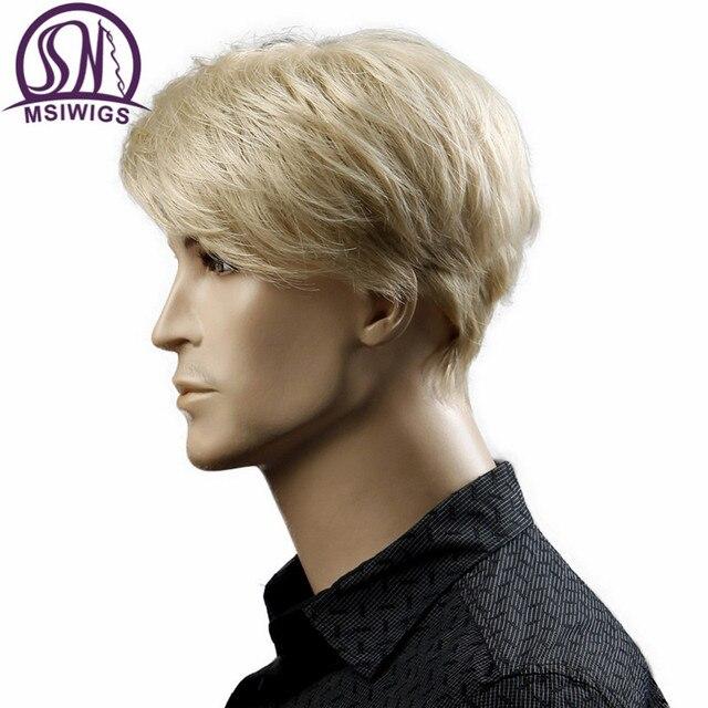 MSIWIGS Court Blonde Mâle Synthétique Perruques Américain Européenne 6 Pouce Droite Hommes Perruque avec Livraison Chapeau de Cheveux Résistant À La Chaleur 4
