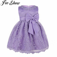 Toddler Girl Dress Floral Embroidered Bow Baptism Clothes Newborn Baby Christening Gown Dress For Girl Kids