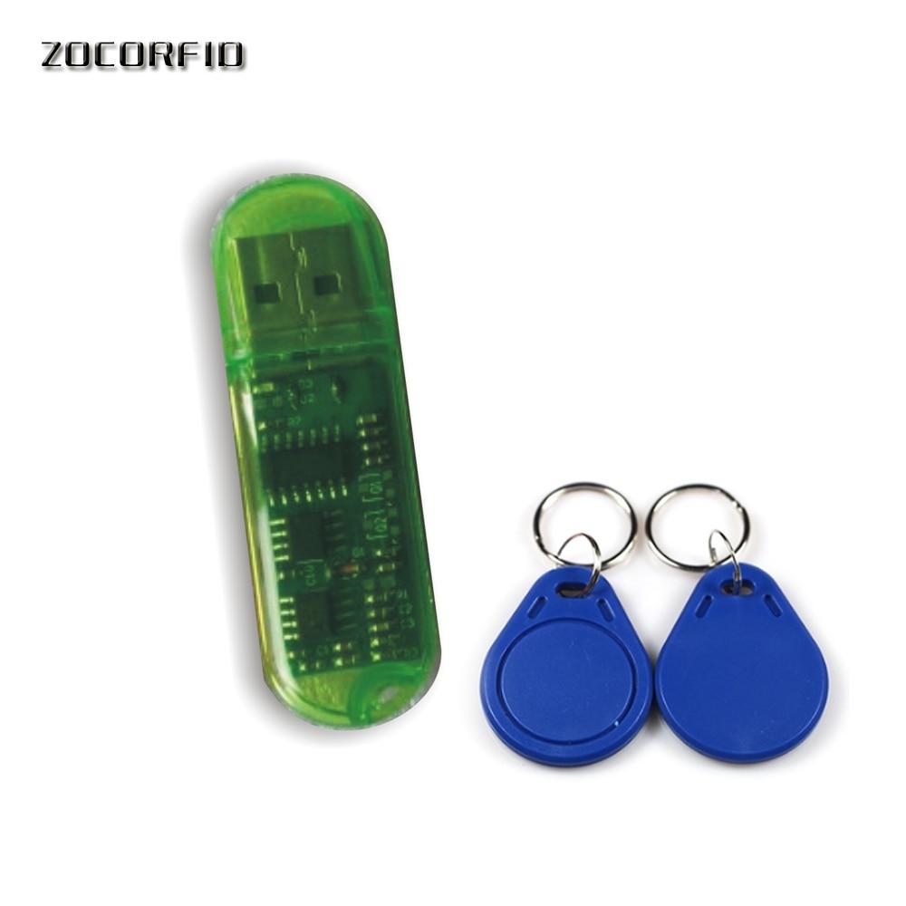 Livraison Gratuite Mini USB 125 KHZ RFID ID Carte Lecteur & Graveur & Copieur/Duplication (T5557/T5567/T5577/EM4305) + 5 ps réinscriptibles tags