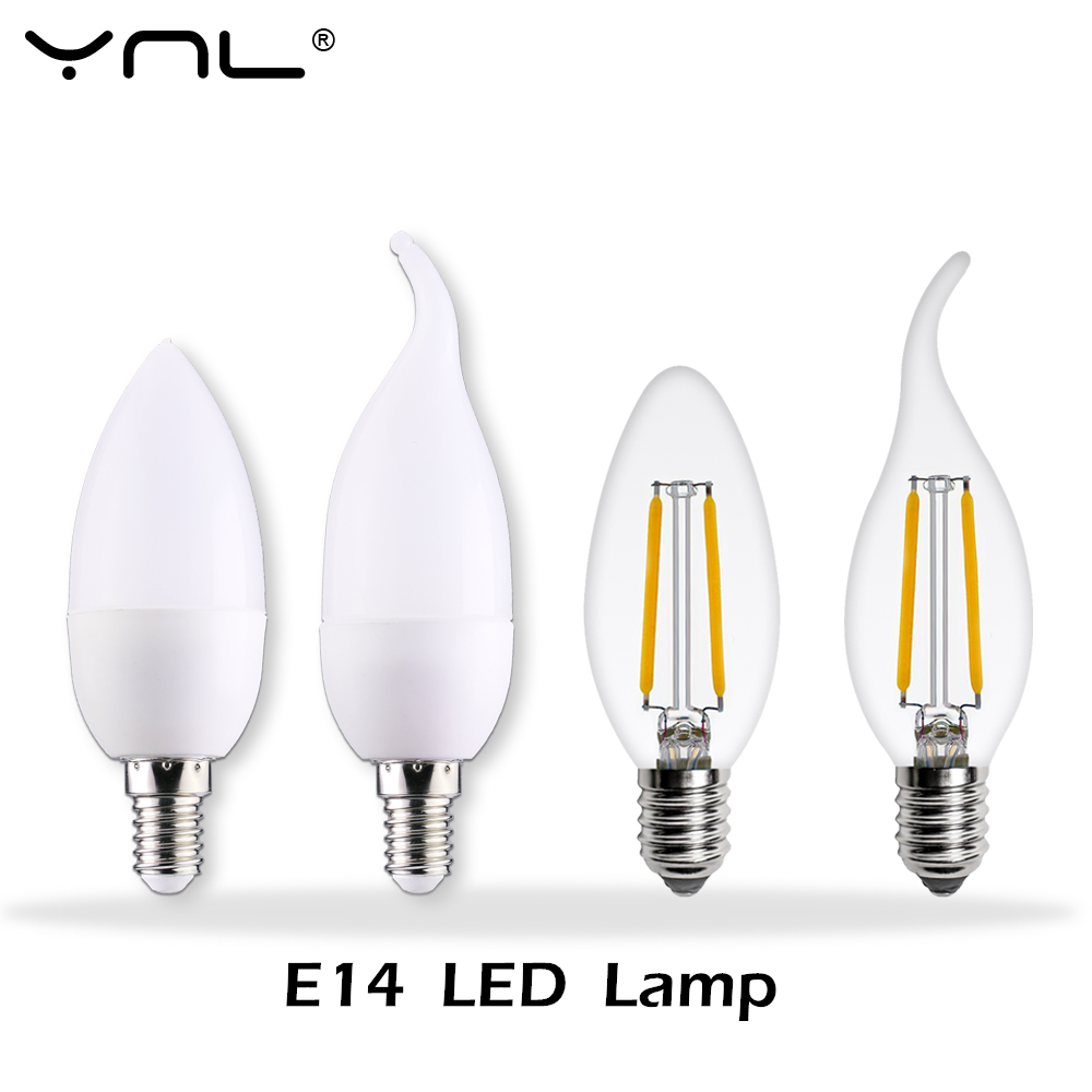 YNL Lampada LED Lamp E14 220V Ampolletas Bombillas LED Candle Light Cold Warm White Luz Lampada De Led Bulb Spotlight