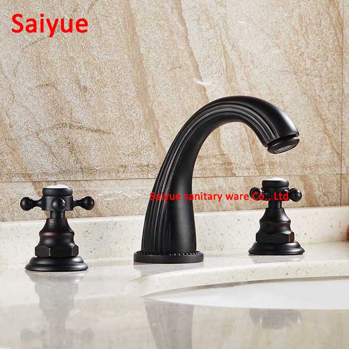 Dual Handle Widespread 3pcs Oil Rubbed Brass 8 Roman Bathroom Faucet Deck Mounted Vanity Sink Lavatory Hot and cold Mixer Tap widespread hot cold water deck mounted oil rubbed bronze red sink bathroom vanity mixer tap faucet