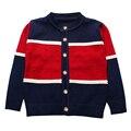 2016 New Boy Suéteres de Algodón A Rayas Tejido de Punto Superior Botones de la Ropa de Los Niños Recién Nacidos Ropa de Bebé Ropa de Invierno chaqueta de Punto Caliente