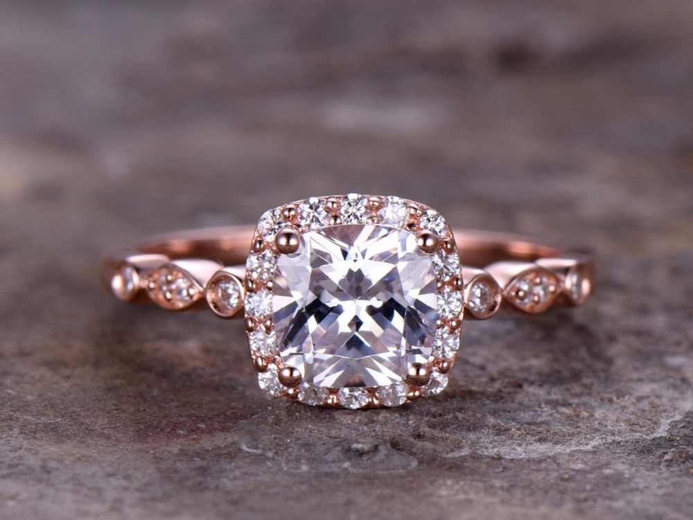 6.5mm Cushion Cut Engagement ring 925 sterling silver stacking art deco wedding band rose gold plated CZ Bridal ring Retro 3 4mm round cut brilliant cz 925 sterling silver rose gold plated women fashion engagement wedding cubic zirconia ring
