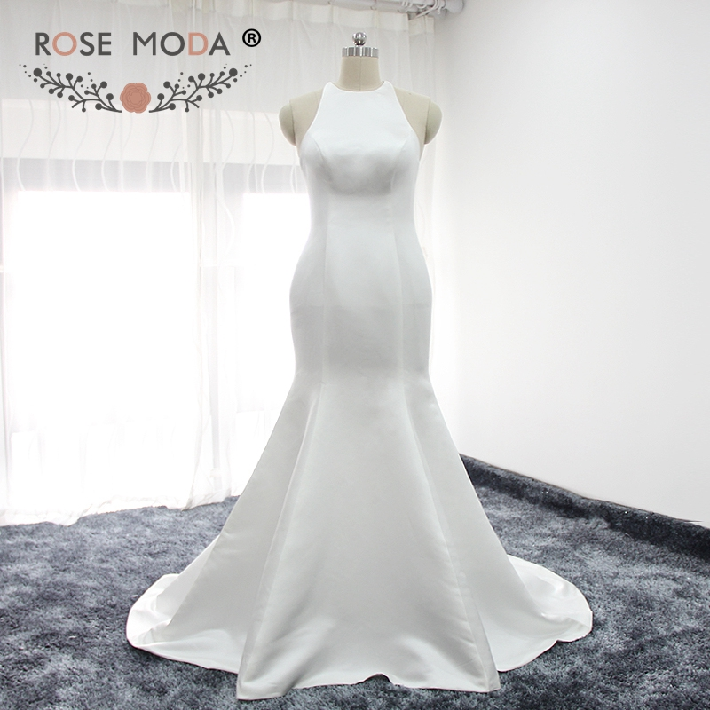 Rose Moda Simple Halter Mermaid Wedding Dress Criss Cross