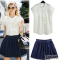 White Lace Chiffon Sheer Blouse Denim Skirts Womens For Women Tops + Short Skirt Plus Size Embroidery Clothing Set Blusas 719
