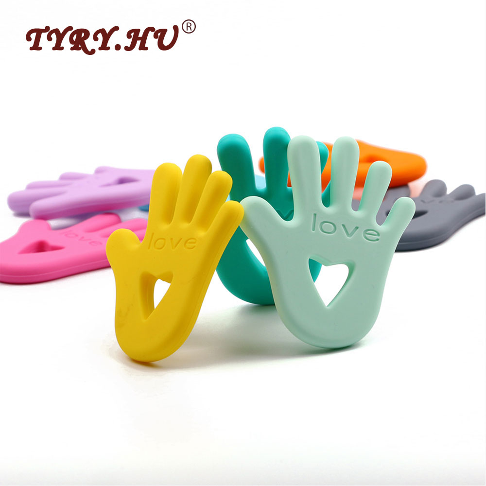 TYRY.HU Cute Hand Palm Silicone Teether Safe Baby Teething Toy BPA Free Pacifier Chain Pendant Nursing Baby Teethers Chew Toys