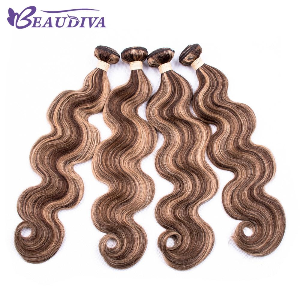 P4-27 Brazilian Body Wave Hair Bundles 100% Human Hair Weave 4pcs BEAUDIVA Remy Hair Extension 10-24''