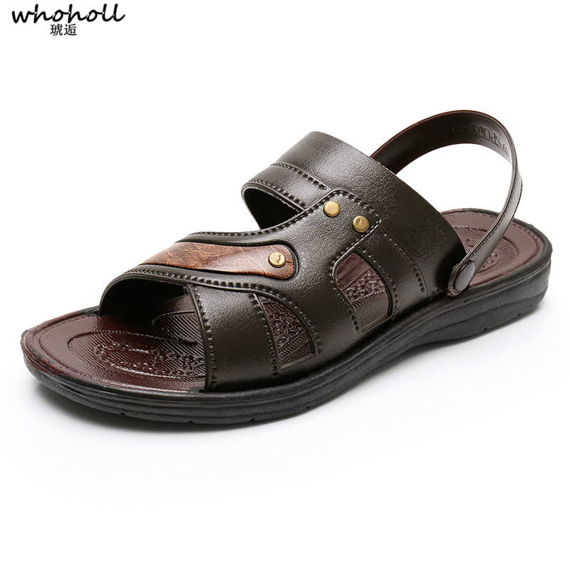 Whoholl New Fashion Brand Summer Men's Casual Sandals Breathable Comfortable British Leather Black Gray Sandals Plus Size 38-44