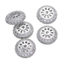 11*11mm Newest Design Car Wheel Shape CZ Micro Pave Beads Copper Metal Zircon Flower Loose Beads CHF172