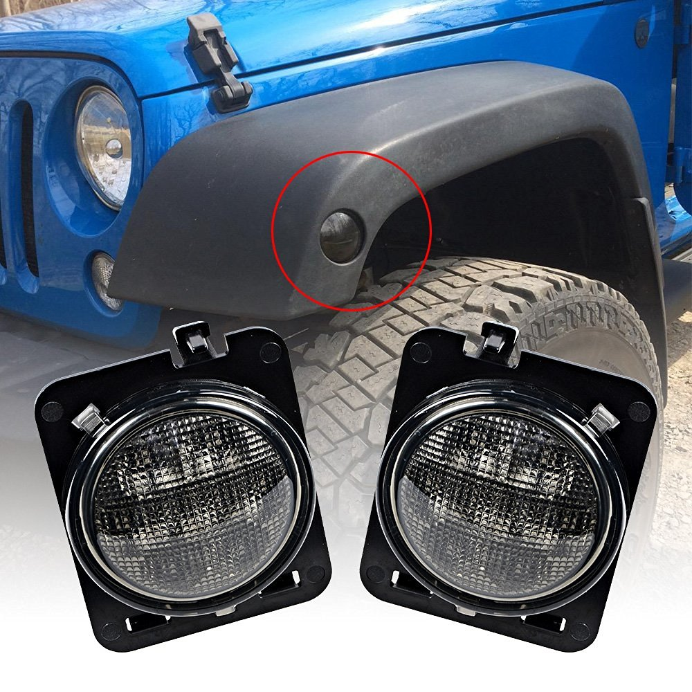 Pair 8 SMD LED Light Front Fender Flare Smoke Amber LED Side Marker Parking Turn Signal Light For 2007-2016 Jeep Wrangler JK 4pcs black led front fender flares turn signal light car led side marker lamp for jeep wrangler jk 2007 2015 amber accessories