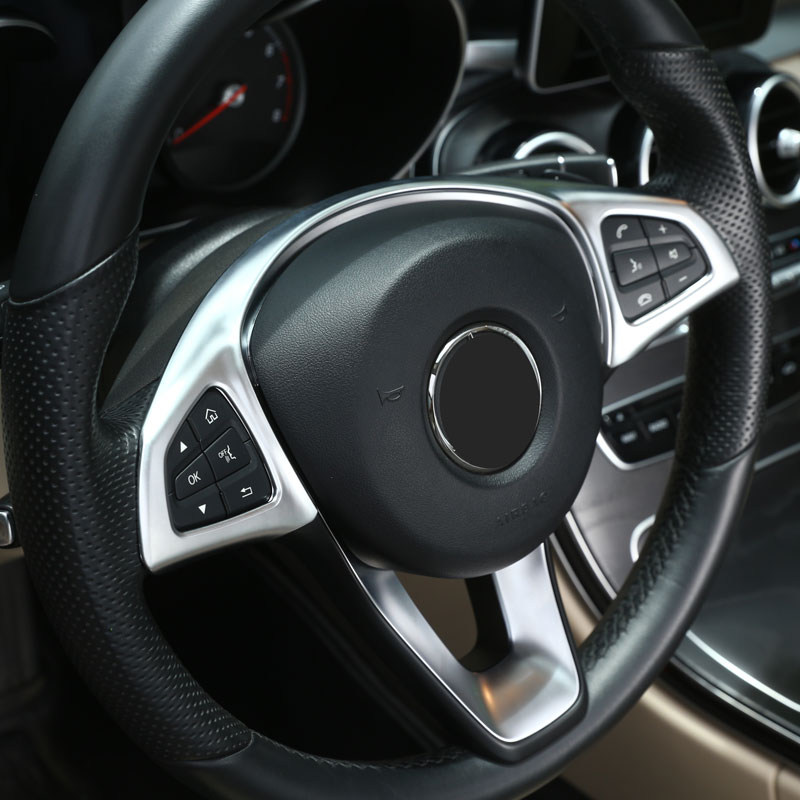 chrome steering wheel button trim car accessories for mercedes benz glc c e class w205 w213 2016. Black Bedroom Furniture Sets. Home Design Ideas