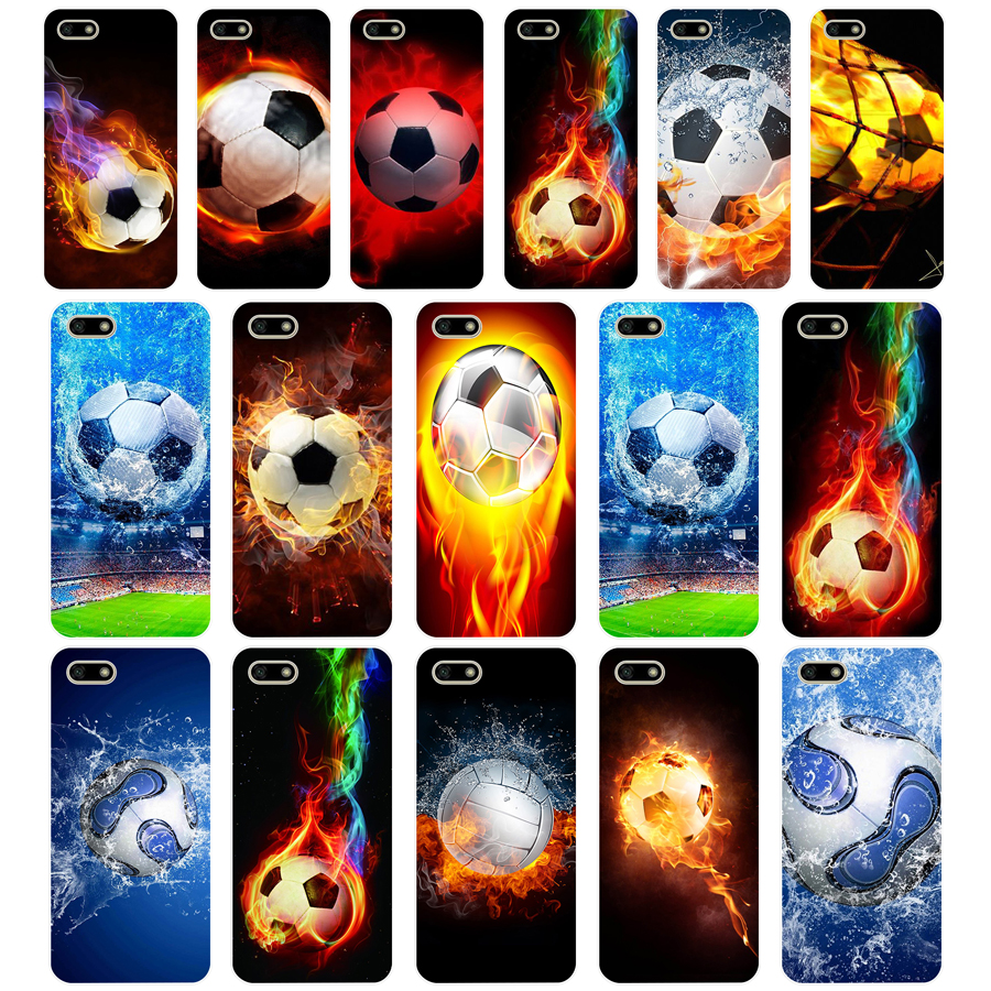 33 Fire Football Soccer Ball TPU Soft Silicone Case For Huawei Honor 7C 7a 5.7 inch 7x 8x 7a 5.45 Y5 2018 Russian version Cover