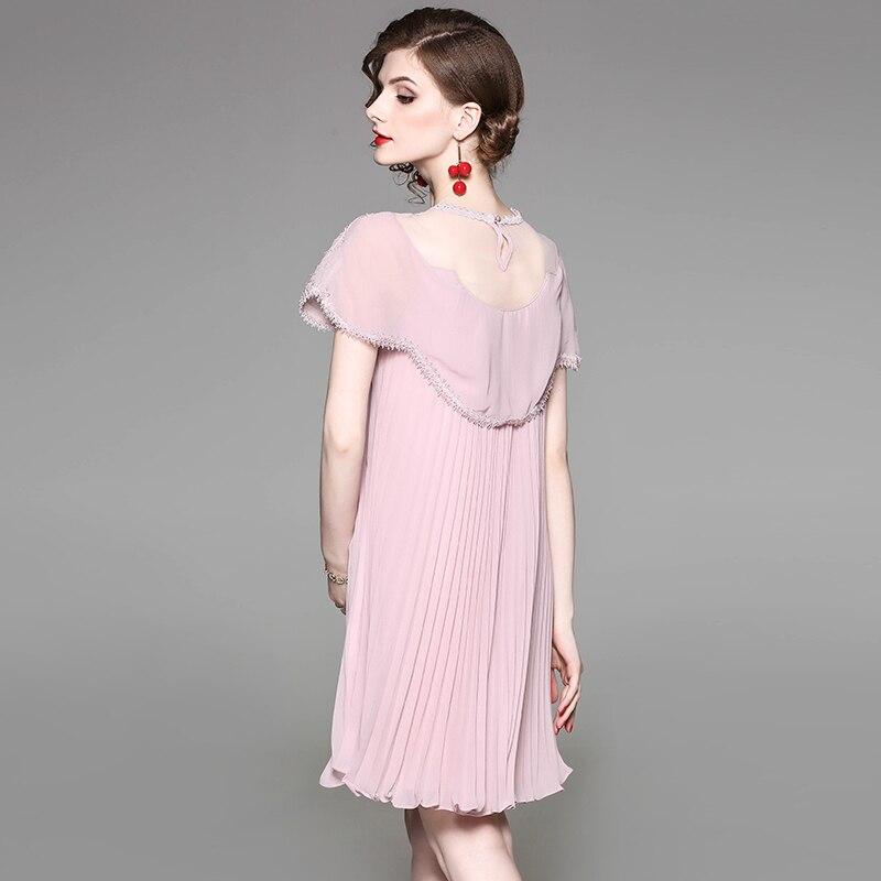 Plissée Du Noir Dentelle Robe Été Printemps Manches Événement Parti rose Rose A Transparente Perles Poitrine Manteau Femme De Noir Col ligne UHwSgqS