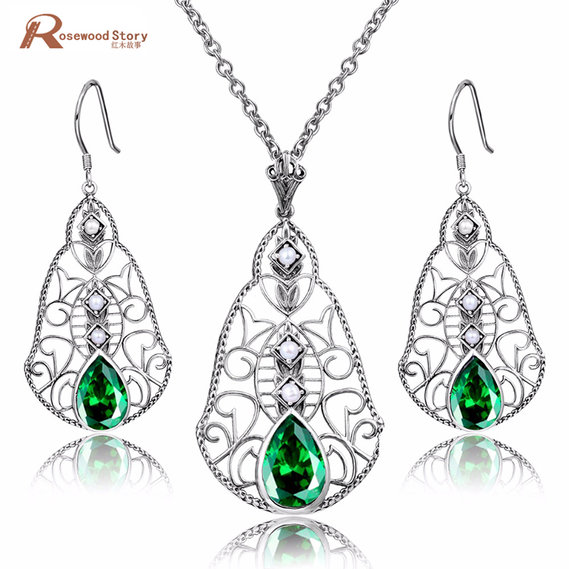 Luxury 925 Silver Green Stone Crystal Wedding Pearl Jewelry Set for Women Brides Pendant Earrings Set Bijoux Kits Mariage Femmes classical malachite green round shell simulated pearl abacus crystal 7 rows necklace earrings women ceremony jewelry set b1303