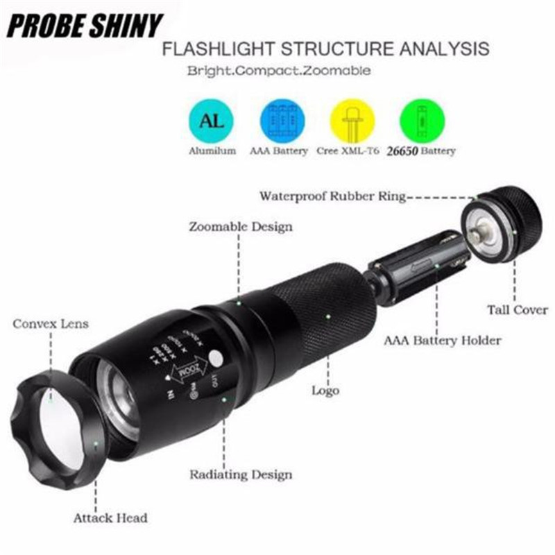 X800 Zoomable XML T6 LED 5000 lumens Modes Tactical Police Flashlight+18650 Battery+Charger+Case Torch Lamp Bicycle Light