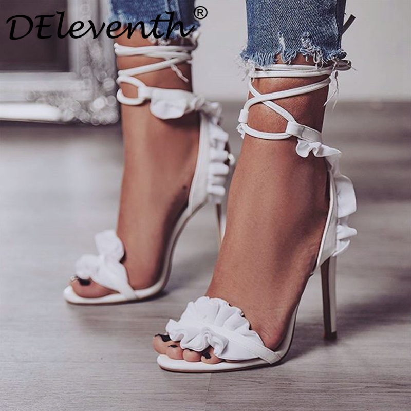 33dfcb2d8e3 US $18.3 30% OFF|DEleventh Hot Sexy Cross Strap Lace Up Ruffles Stiletto  High Heels Sandals Peep Toe Woman Party Dress Shoes Sandalias White EU43-in  ...