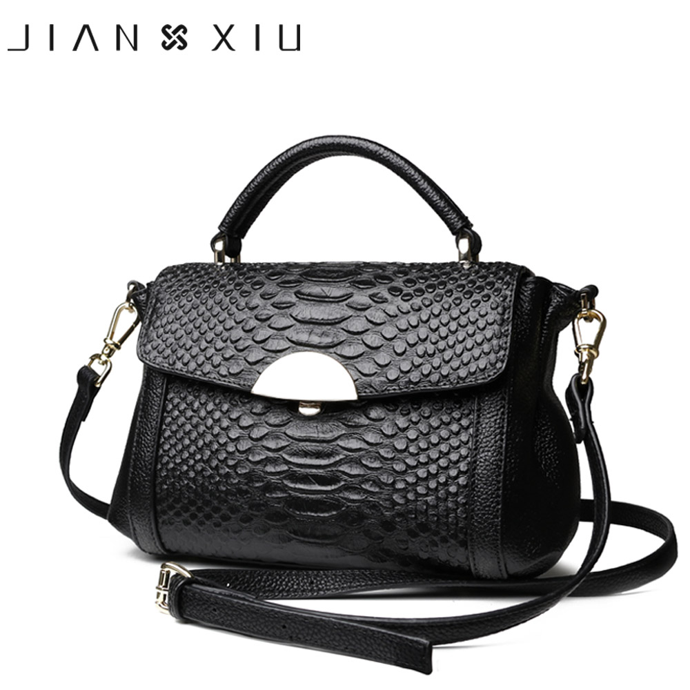 JIANXIU Women Genuine Leather Handbags Famous Brands Handbag Messenger Bags 2019 Shoulder Bag Tote Crocodile Tote