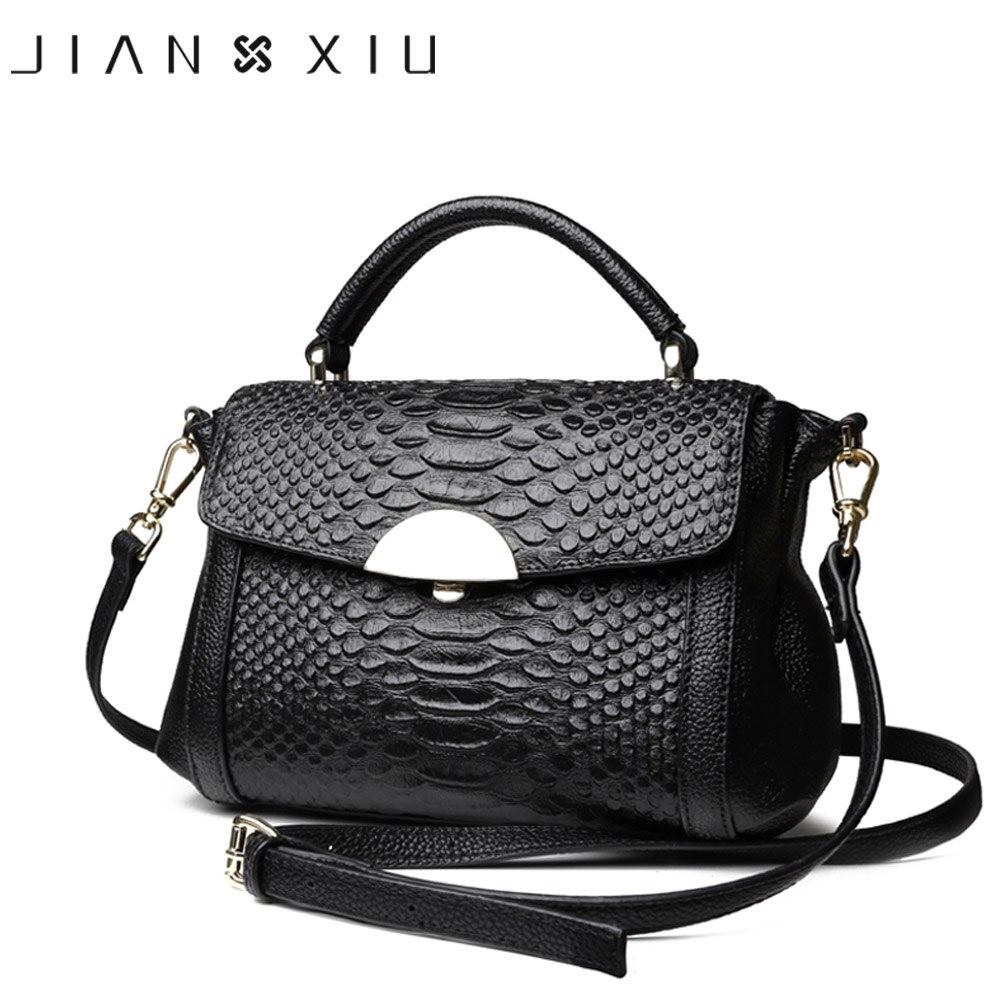 JIANXIU Women Genuine Leather Handbags Famous Brands Handbag Messenger Bags 2019 Shoulder Bag Tote Crocodile Tote Bags 2 Colors
