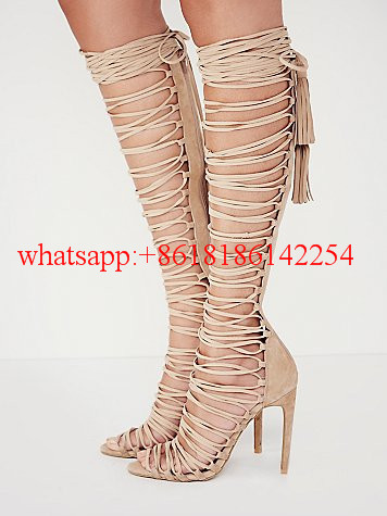 2016 Fashion Spring and Summer New High-heeled Sandals Women's Strap Knee High Sandal Pumps Ladies Sexy Catwalk Shoes Hot Sale