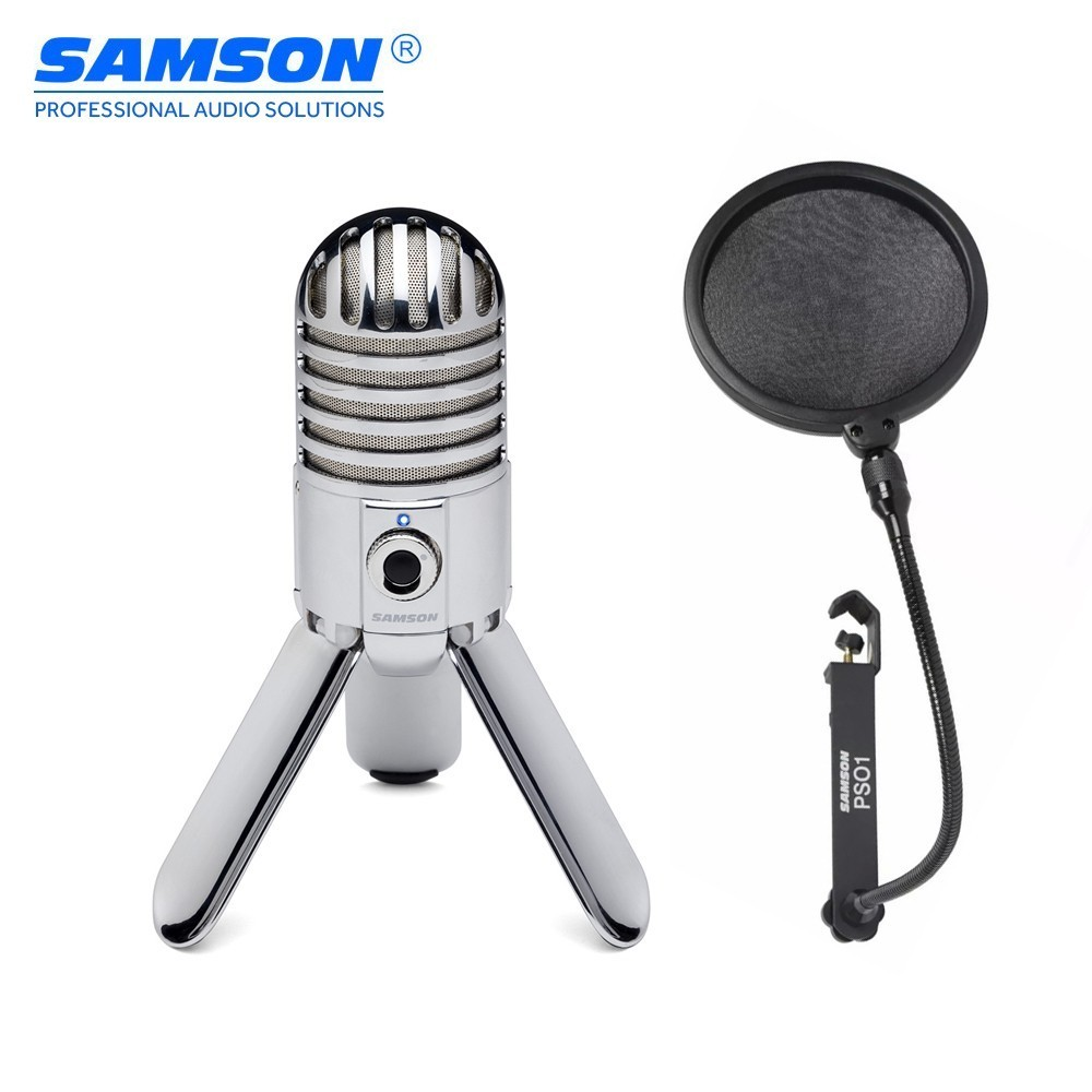 Professional Samson Meteor Mic USB Cardioid Studio Microphone With 3 Fold-back Legs Gaming Microphone Streaming  Recording MIC