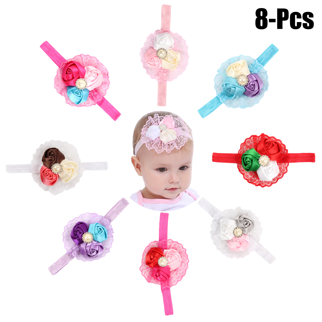 827c27eac1de 8PCS Baby S Hairband Lace Rose Buds Elastic Baby Headband Infant Headwrap  For Baby Girl Toddler